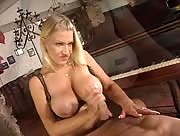 Hot busty blonde gives awesome handjob