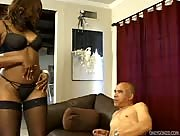 Hot ebony girl jacks off guy