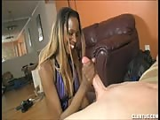 Stephanie Reins Black girl jerks a white Guy Cock
