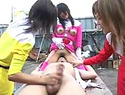 Asian costumed women jerk off and face sit one lucky guy