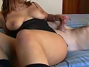 Hot busty latina jerks guy off until he cums on her huge tits