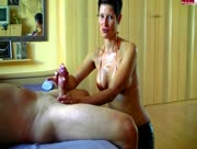 Hot mature woman jerks off her guy