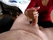 WOman in Red Shirt Giving Hubby Hand Release