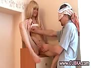 Cute Young Teen Jerks Off Blindfolded Guy