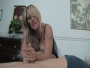 Milf Debbie Diamond Handjobs a Bound Man